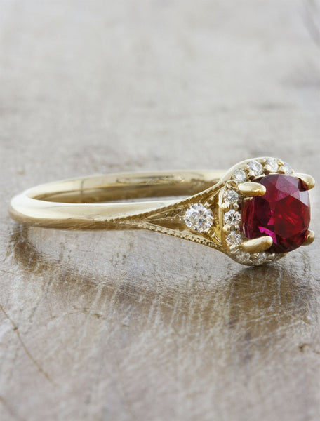 Ruby halo unique engagement ring
