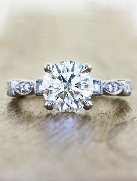 Vintage inspired designs;caption:1.00ct. Round Diamond 14k White Gold
