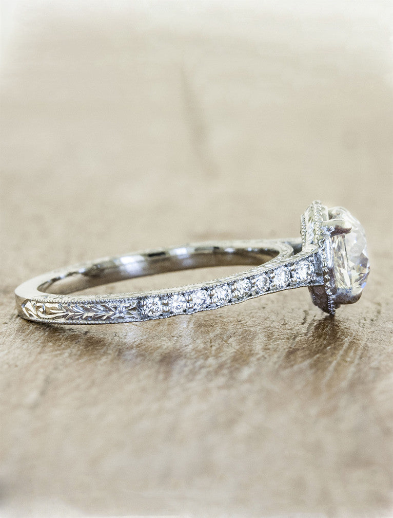european cut round diamond four prong, vintage inspired