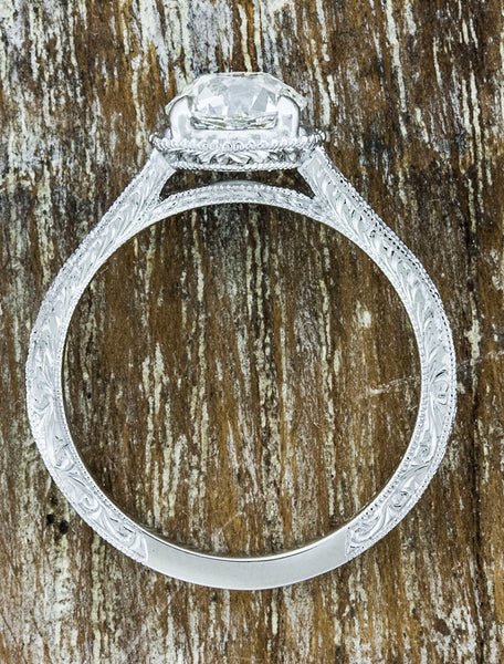 european cut round diamond four prong, vintage inspired, delicate band