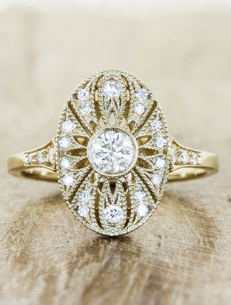 Aurelia Oval Shaped Ornate Diamond Engagement Ring Ken