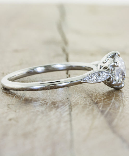 intricate basket setting, diamond engagement ring