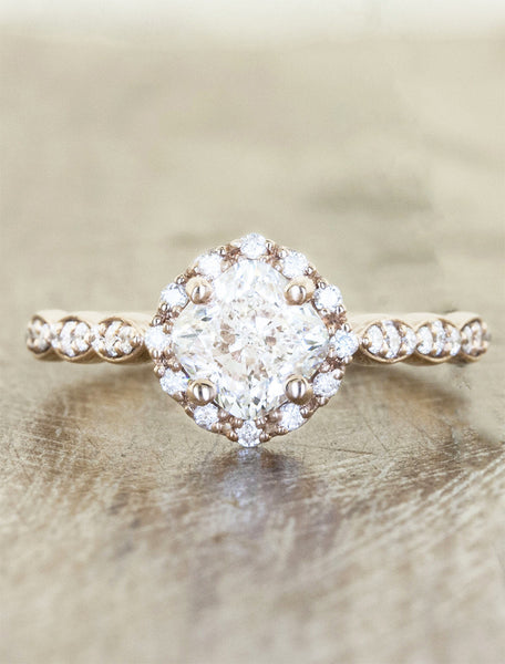 Feminine cushion cut diamond ring;caption:1.20ct. Cushion Cut Diamond 14k Rose Gold