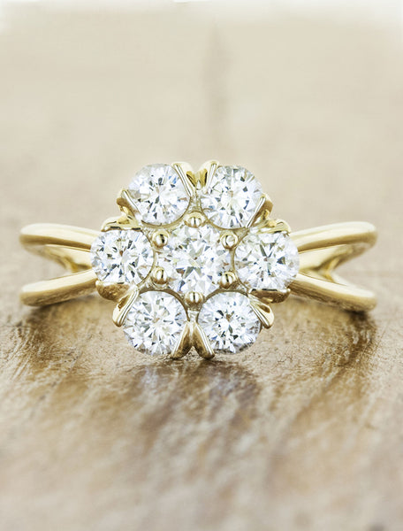 flower shaped diamond and gold engagement ring
