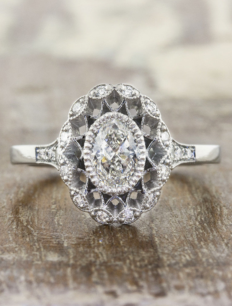 Cordelia Oval Antique Inspired Filigree Engagement Ring
