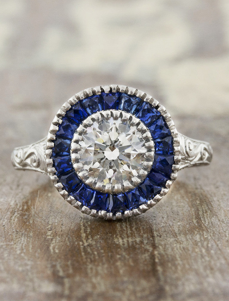 Joanna Vintage Inspired Ring With Sapphire Halo And