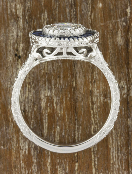 Unique engagement ring sapphire halo vintage inspired and with filigree and vintage inspiration