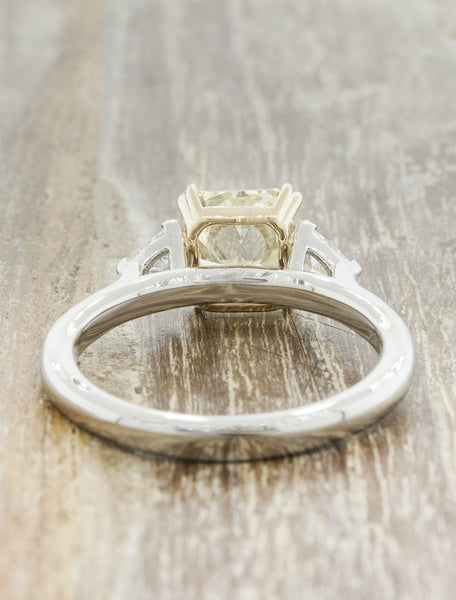 multi stone yellow radiant cut diamond engagement ring