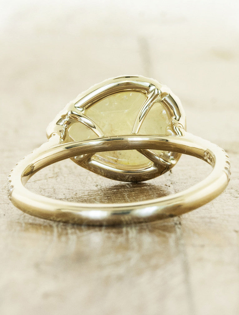 Loxia Rough Pear Shaped Diamond Halo Engagement Ring Ken