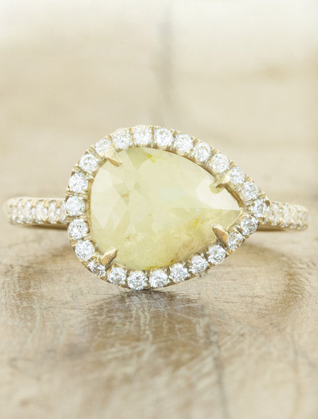 Rough Pear Shaped Diamond Halo Engagement Ring