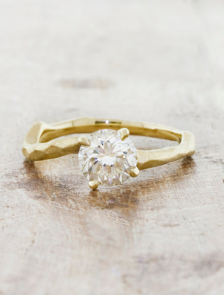 Curved, Textured Engagement Ring