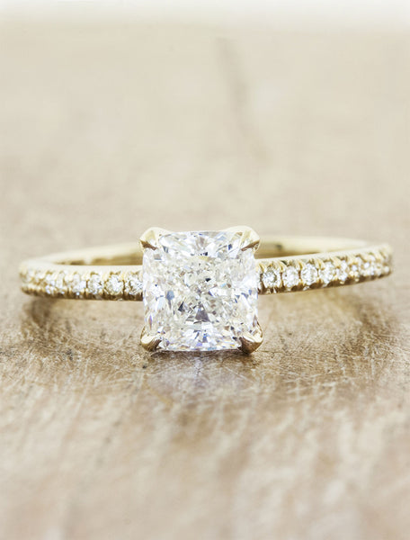 Classic solitaire pave diamond band caption:1.00ct. Cushion Cut Diamond 14k Yellow Gold