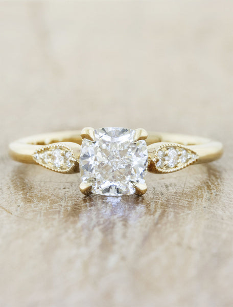 Vintage inspired designs;caption:1.10ct. Cushion Cut Diamond 14k Yellow Gold