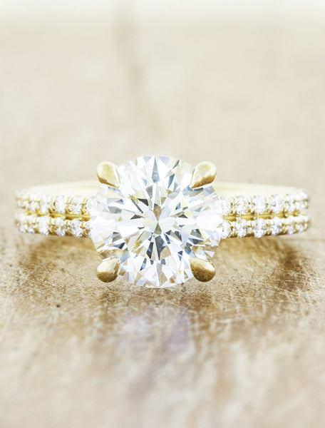 round diamond double band engagement ring yellow gold