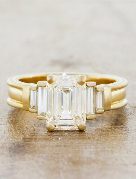 Classic Three Stone Emerald Cut Diamond Ring