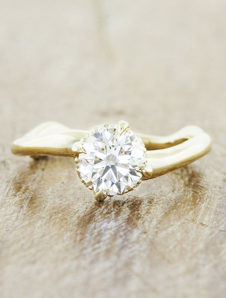 organic shaped band diamond solitaire engagement ring - gold variation;caption:1.00ct. Round Diamond 14k Yellow Gold
