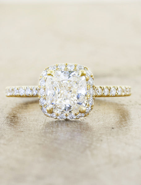 caption:Shown with an 1.50ct cushion diamond, in 14k yellow gold