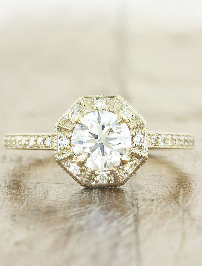 Unique vintage inspired halo engagement ring;caption:0.90ct. Round Diamond 14k Yellow Gold