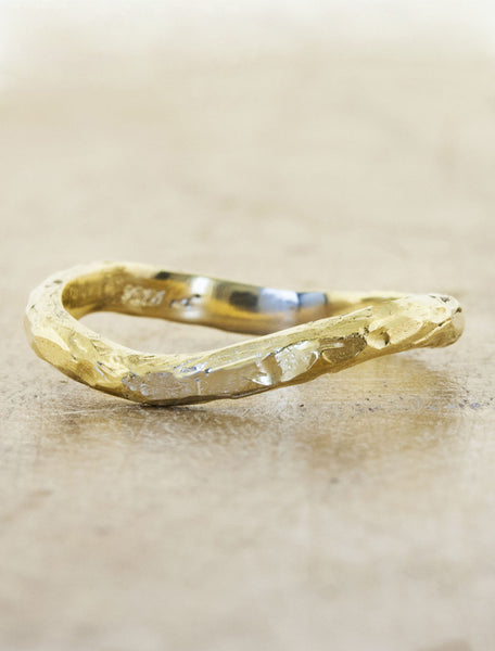 modern sculptural wedding ring, textured surface