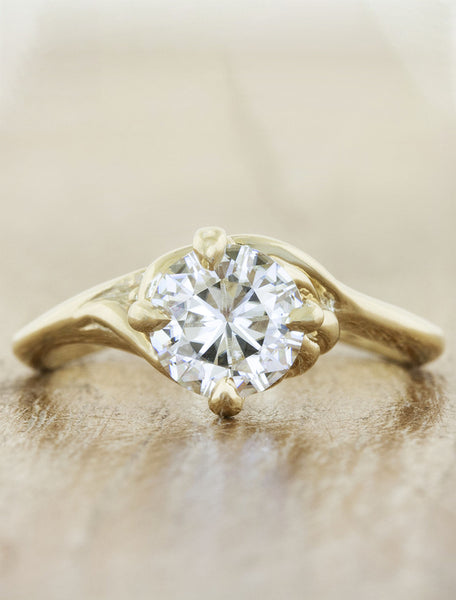 Nature inspired engagement ring - Kalyssa caption:1.00ct. Round Diamond 14k Yellow Gold
