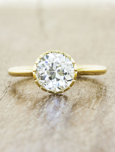 b70433516c Angeline Yellow Gold: Bezel engagement ring with Old European ...