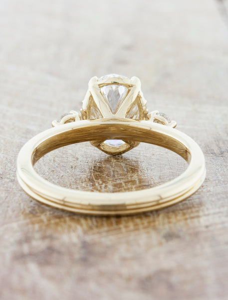 Sleek Modern Gold Band, Diamond Solitaire Ring with Leaf Prongs