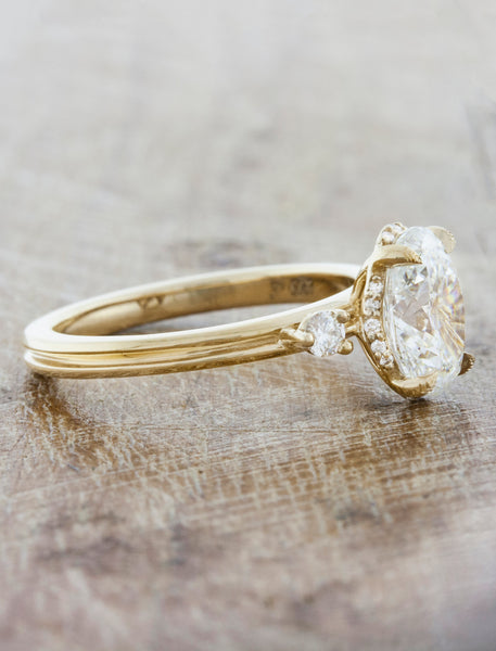 Sleek Modern Yellow Gold Double Band, Oval Diamond Solitaire Ring