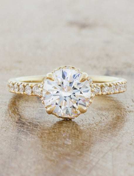 Unique engagement ring hidden halo;caption:1.25ct. Round Diamond 14k Yellow Gold