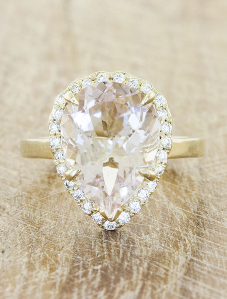 vintage inspired pear shaped morganite engagement ring