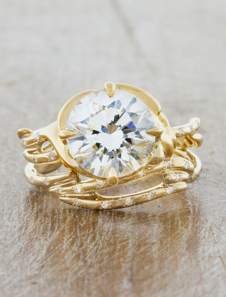 Unique nature inspired engagement ring;caption:1.75ct. Round Diamond 14k Yellow Gold paired with Selene wedding band