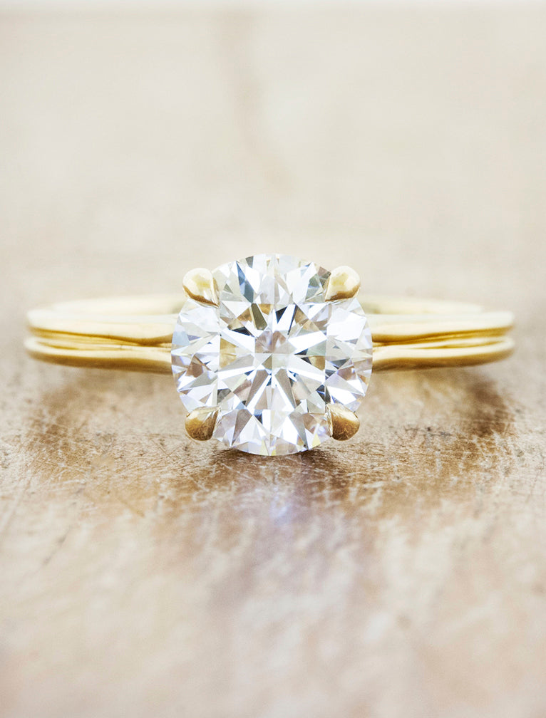 delicate double round diamond engagement ring in yellow gold;caption:1.30ct. Round Diamond 14k Yellow Gold
