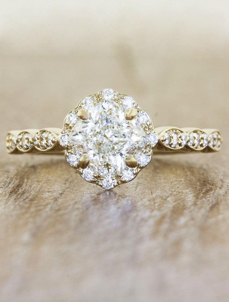 feminine cushion cut diamond ring gold;caption:1.00ct. Cushion Cut Diamond 14k Yellow Gold