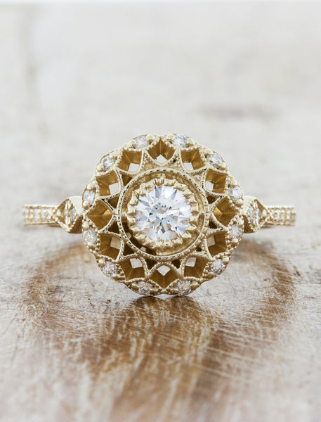 Vintage inspired collection caption:0.25ct. Round Diamond 14k Yellow Gold