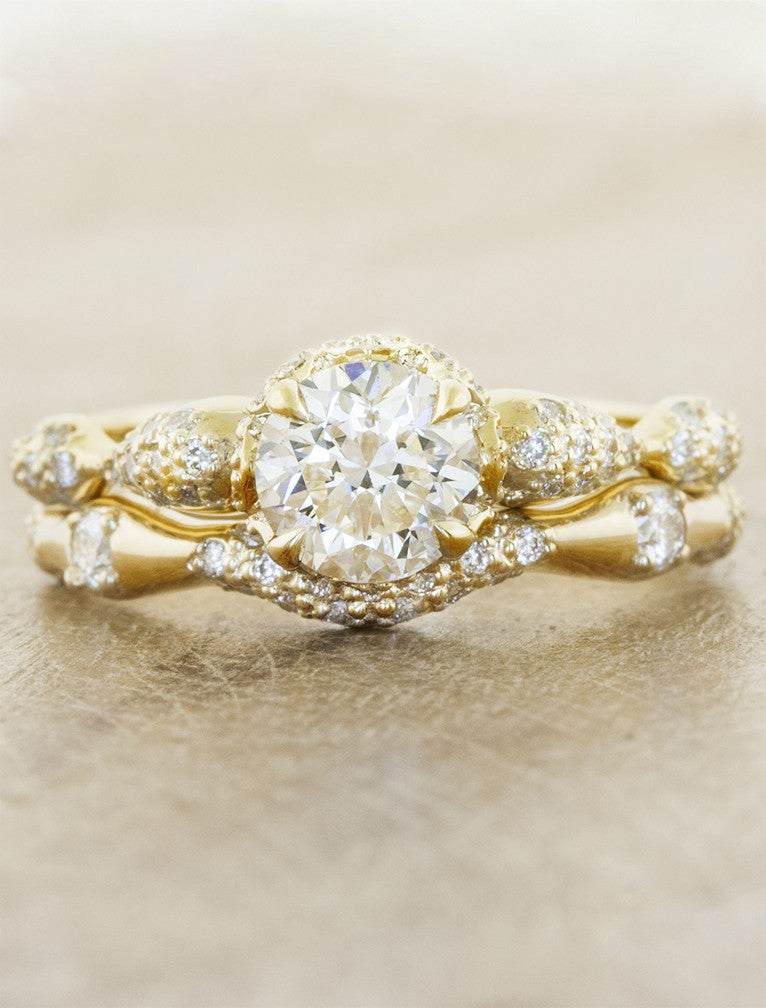 wavy, varying thickness diamond wedding band set - yellow gold, paired with floral engagement ring