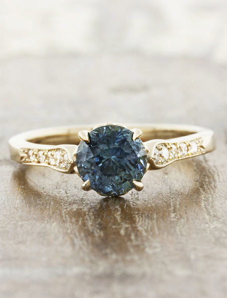 Vintage inspired designs;caption:1.75ct. Round Sapphire 14k Yellow Gold