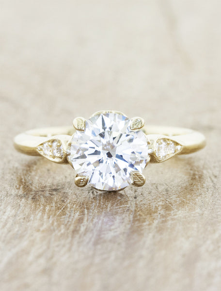 Vintage inspired designs;caption:1.30ct. Round Diamond 14k Yellow Gold