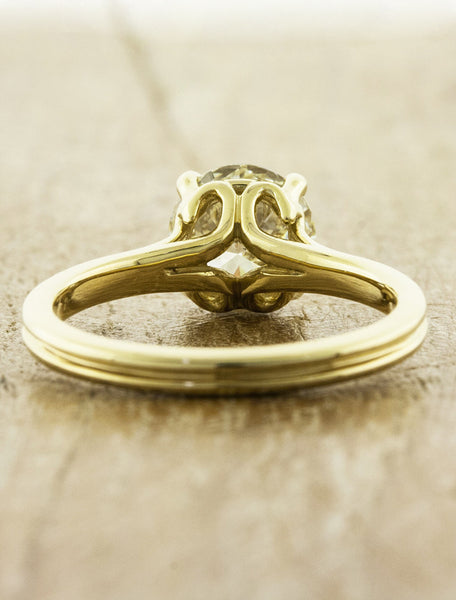 delicate double round diamond engagement ring in yellow gold