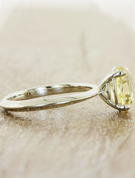 oval yellow sapphire knife edge band ring