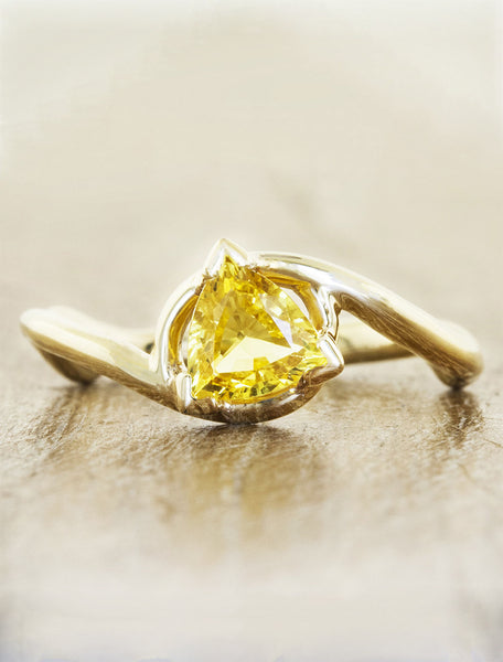 organic inspired raw diamond ring, asymmetrical band caption:1.20ct. Yellow Sapphire Trilliant 14k Yellow Gold