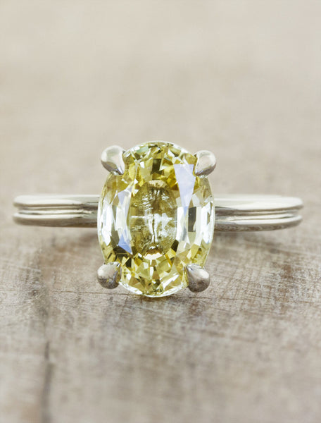unique oval yellow sapphire engagement ring;caption:1.15ct. Oval Sapphire Platinum