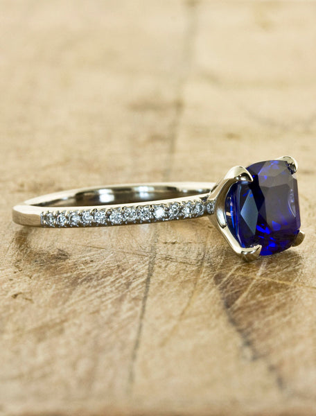 cushion cut cultured blue sapphire ring, diamond band