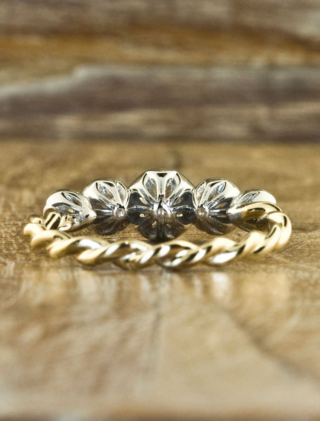 twisted band yellow and white gold, five stone engagement ring