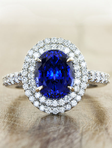 double halo oval sapphire engagement ring