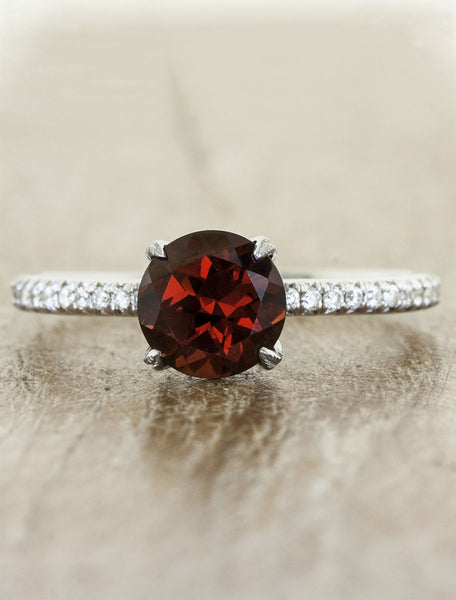 Classic solitaire pave diamond band;caption:1.50ct. Round Ruby Platinum