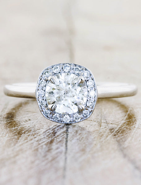 halo moissanite engagement ring, plain band