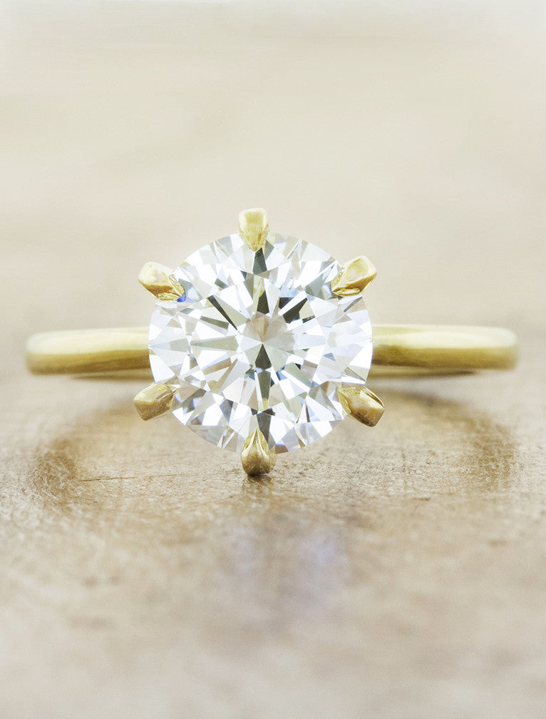 Classic solitaire - Ariya caption:1.75ct. Round Diamond 14k Yellow Gold with custom 6-prong basket