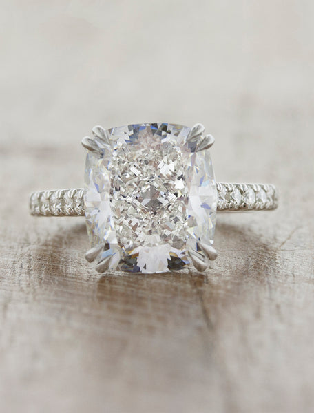cushion cut diamond solitaire engagement ring, diamond band;caption:5.00ct. Cushion Cut Diamond Platinum