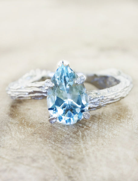Nature inspired solitaire engagement ring caption:1.30ct. Pear Aquamarine Platinum