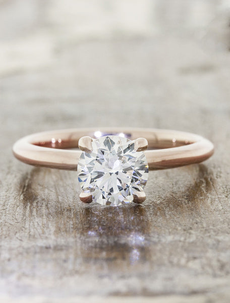 Classic solitaire - Ariya caption:0.90ct. Round Diamond 14k Rose Gold