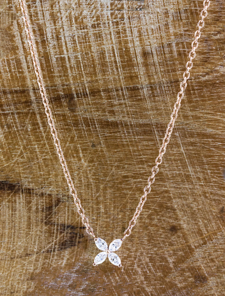 four diamond floral necklace